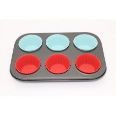 Форма для выпечки кексов на металлическом каркасе 6 ячеек