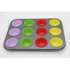 Форма для выпечки кексов на металлическом каркасе 12 ячеек