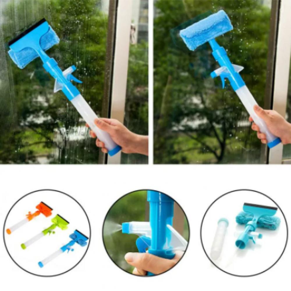 Швабра для мытья окон (распылитель + резиновый скребок)