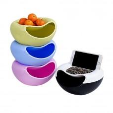 Двойная тарелка для семечек и подставка для телефона 3 в 1 Creative & Fashionable Fruit Platter